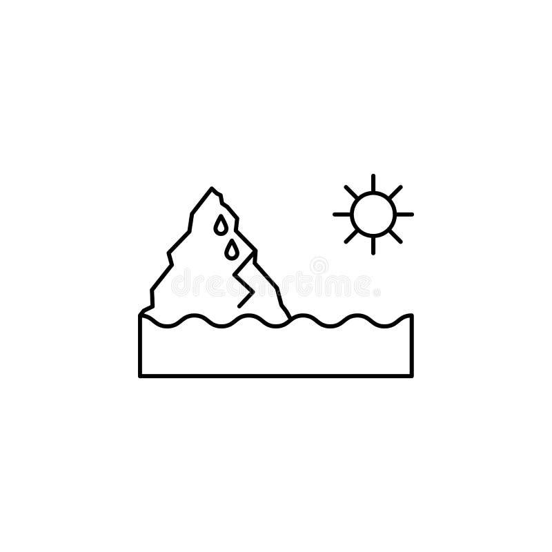Εικονίδιο 'Melt sun iceberg' Στοιχείο εικονιδίου φυσικής καταστροφής ελεύθερη απεικόνιση δικαιώματος