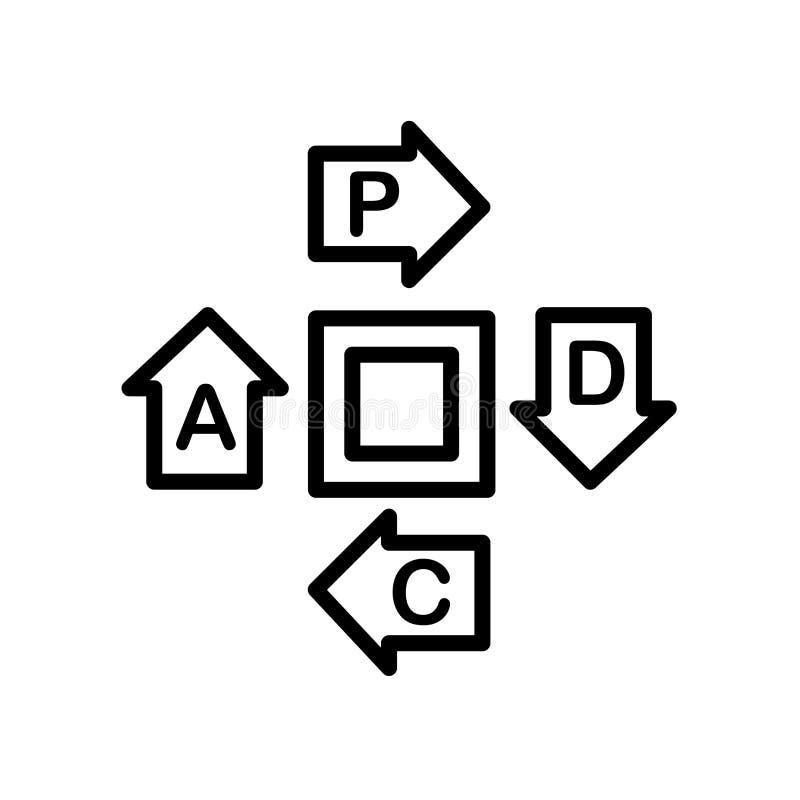εικονίδιο pdca που απομονώνεται στο άσπρο υπόβαθρο διανυσματική απεικόνιση