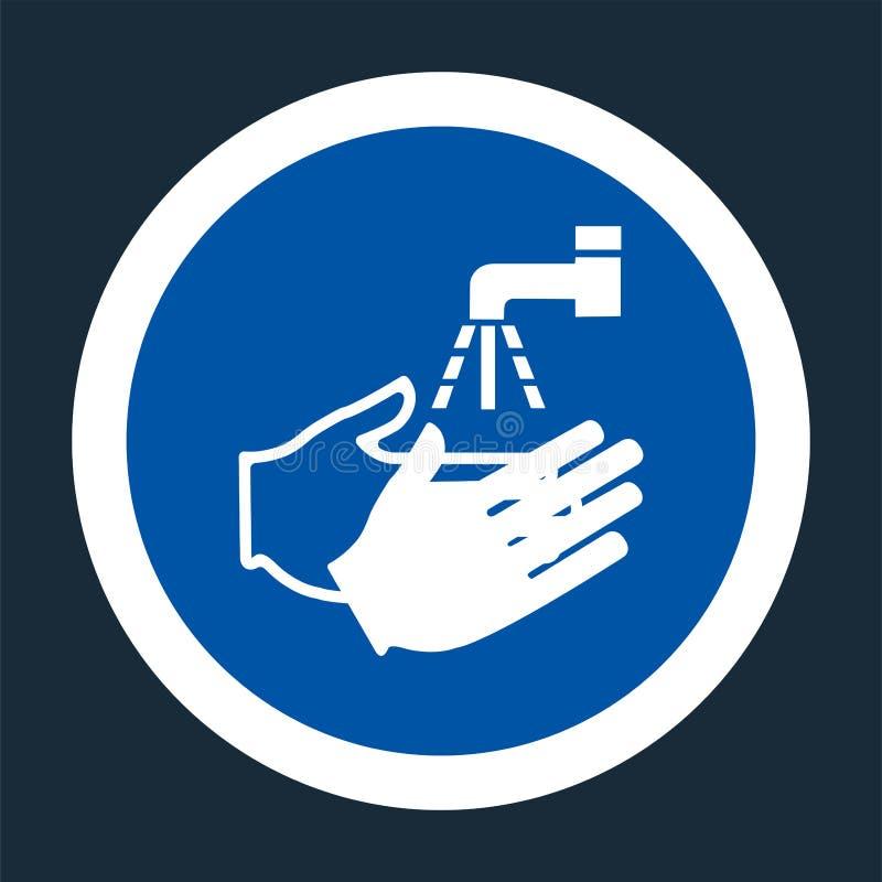 Εικονίδιο PPE Πλύντε το σύμβολο χεριών σας στο μαύρο υπόβαθρο στο μαύρο υπόβαθρο, διανυσματικό llustration διανυσματική απεικόνιση