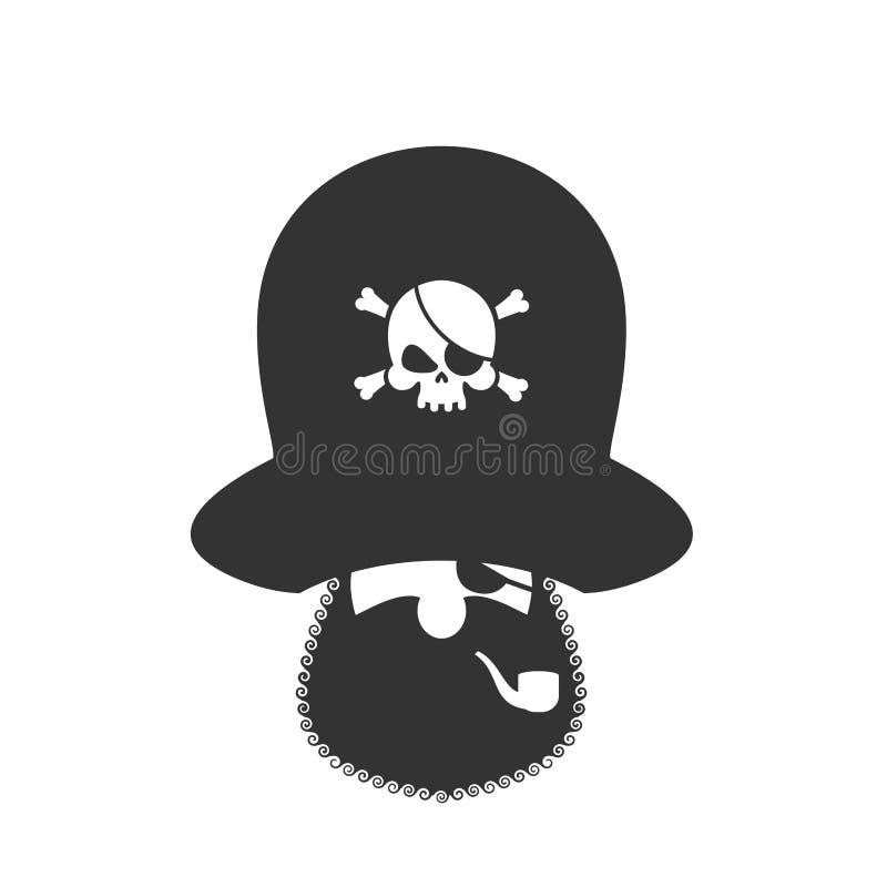 Εικονίδιο Ppirate Μπάλωμα ματιών και καπνίζοντας σωλήνας κωλυσιεργία ΚΑΠ boniface διανυσματική απεικόνιση
