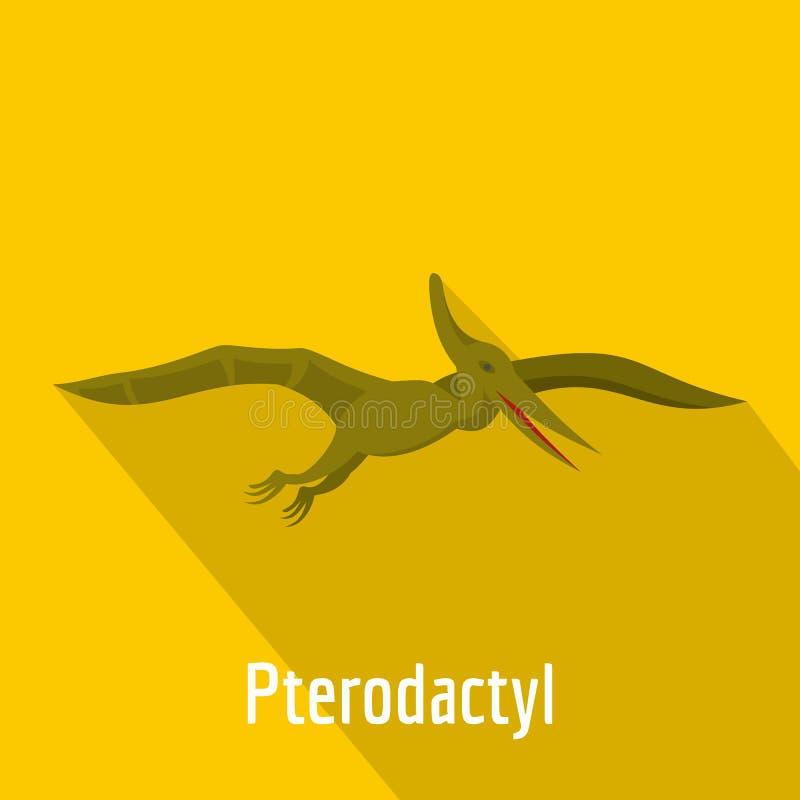 Εικονίδιο Pterodactyl, επίπεδο ύφος απεικόνιση αποθεμάτων