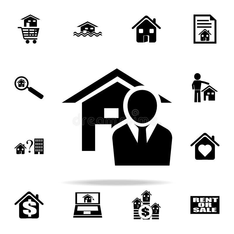 Εικονίδιο Realtor Καθολικό εικονιδίων ακίνητων περιουσιών που τίθεται για τον Ιστό και κινητό ελεύθερη απεικόνιση δικαιώματος