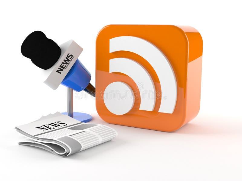 Εικονίδιο RSS με τις ειδήσεις μικροφώνων διανυσματική απεικόνιση