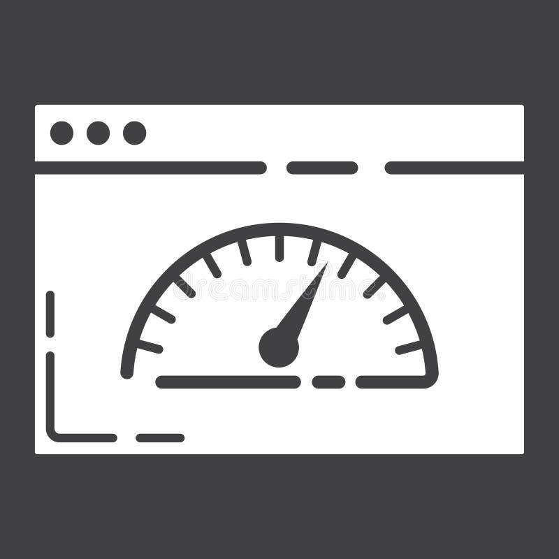 Εικονίδιο, seo και ανάπτυξη ταχύτητας σελίδων glyph διανυσματική απεικόνιση