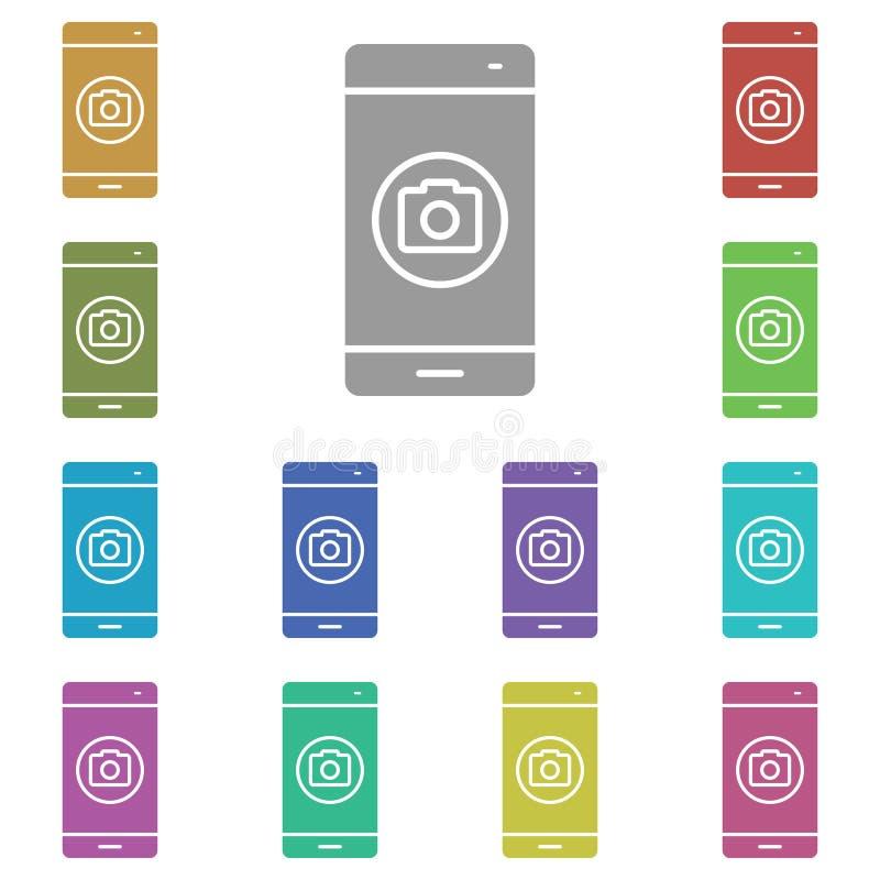 Εικονίδιο smartphone, phone, camera multi Απλό γλύφο, επίπεδο διάνυσμα εικονιδίων smartphone για ui και ux, τοποθεσία web ή κινητ διανυσματική απεικόνιση