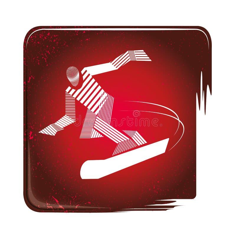 Εικονίδιο Snowboarding ρηγέ απεικόνιση αποθεμάτων