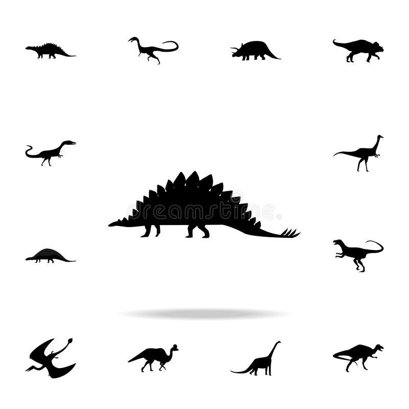 Εικονίδιο Stegosaurus Λεπτομερές σύνολο εικονιδίων δεινοσαύρων Γραφικό σχέδιο ασφαλίστρου Ένα από τα εικονίδια συλλογής για τους  απεικόνιση αποθεμάτων