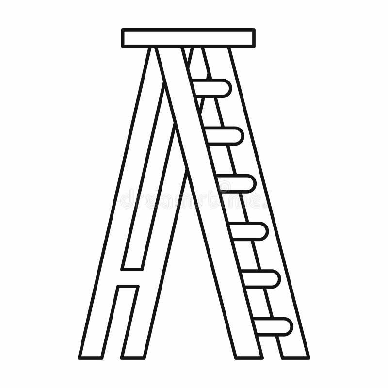 Εικονίδιο Stepladder στο ύφος περιλήψεων διανυσματική απεικόνιση