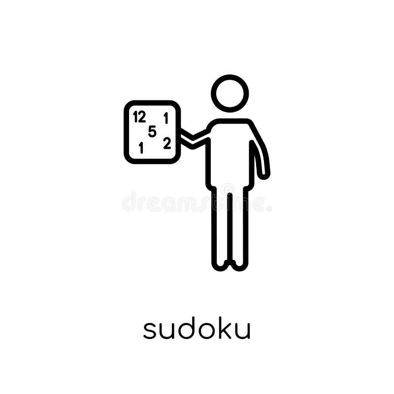 Εικονίδιο Sudoku Καθιερώνον τη μόδα σύγχρονο επίπεδο γραμμικό διανυσματικό εικονίδιο Sudoku στο whi διανυσματική απεικόνιση
