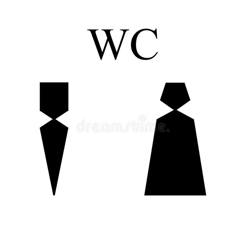 Εικονίδιο WC Σκιαγραφία ανδρών και γυναικών - eps δέκα διανυσματική απεικόνιση