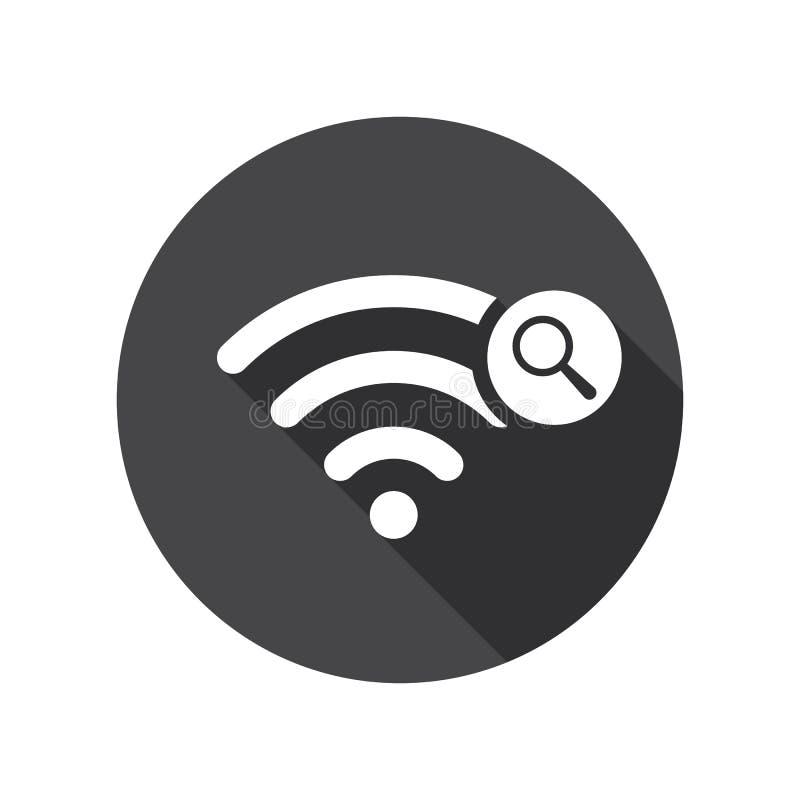 Εικονίδιο Wifi με το ερευνητικό σημάδι Το εικονίδιο Wifi και ερευνά, βρίσκει, επιθεωρεί την έννοια διανυσματική απεικόνιση