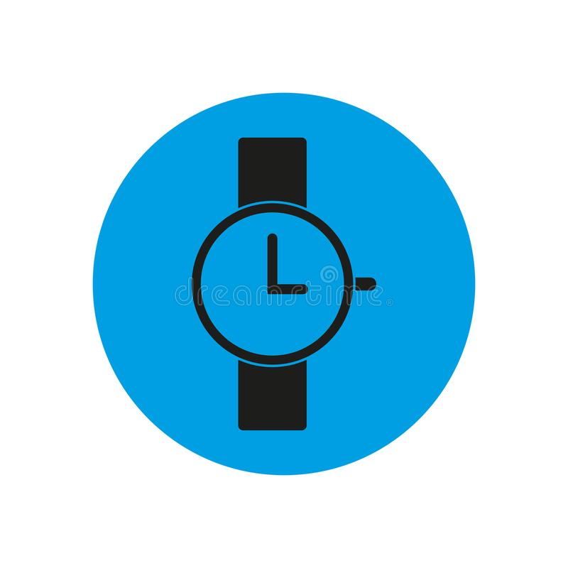 Εικονίδιο Wristwatch στον μπλε κύκλο απεικόνιση αποθεμάτων