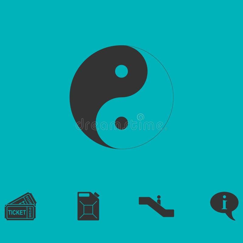 Εικονίδιο Yang Yin επίπεδο ελεύθερη απεικόνιση δικαιώματος