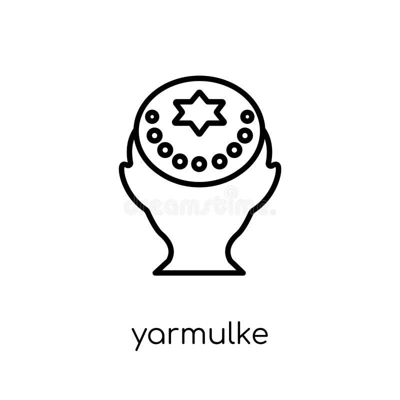 Εικονίδιο Yarmulke Καθιερώνον τη μόδα σύγχρονο επίπεδο γραμμικό διανυσματικό εικονίδιο Yarmulke επάνω ελεύθερη απεικόνιση δικαιώματος
