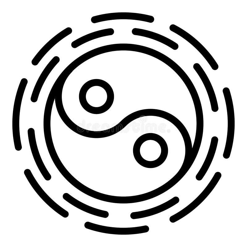 Εικονίδιο Yin yang, ύφος περιλήψεων διανυσματική απεικόνιση