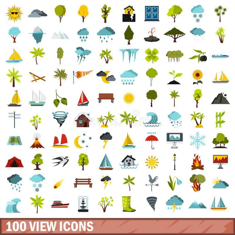 100 εικονίδια άποψης καθορισμένα, επίπεδο ύφος διανυσματική απεικόνιση