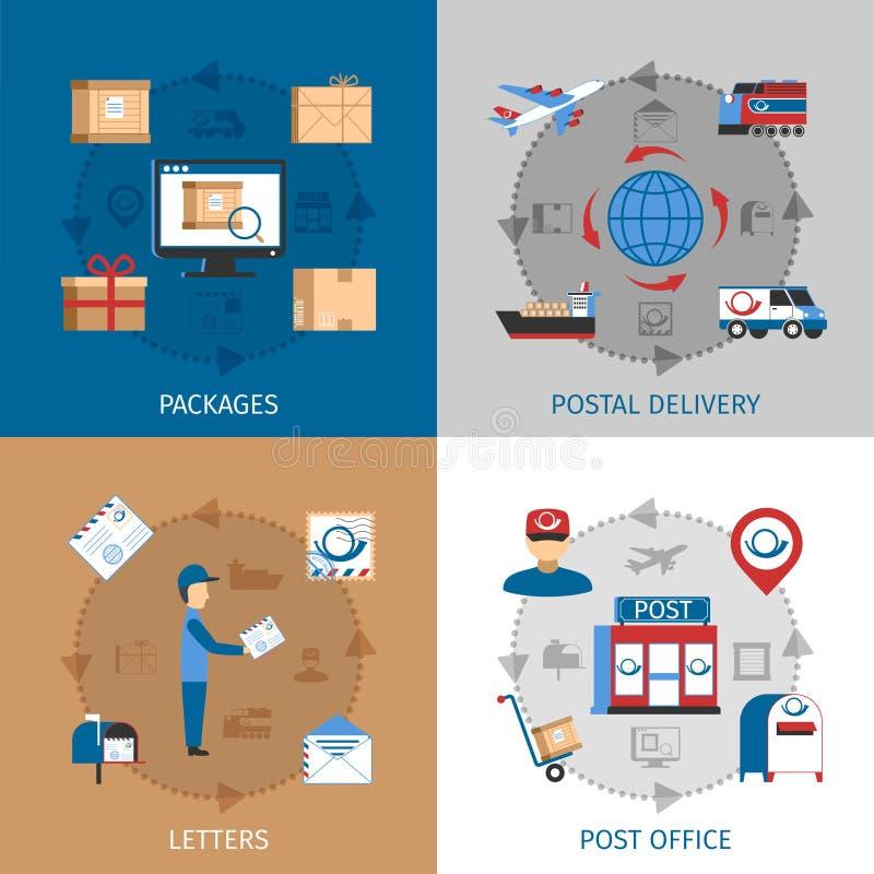 Εικονίδια έννοιας ταχυδρομείου καθορισμένα απεικόνιση αποθεμάτων