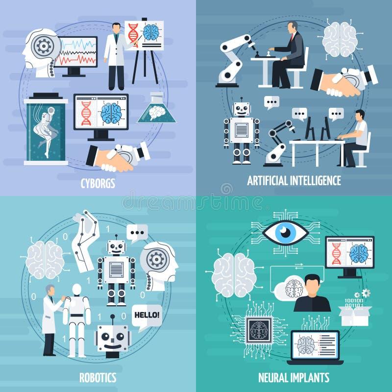 Εικονίδια έννοιας τεχνητής νοημοσύνης καθορισμένα ελεύθερη απεικόνιση δικαιώματος