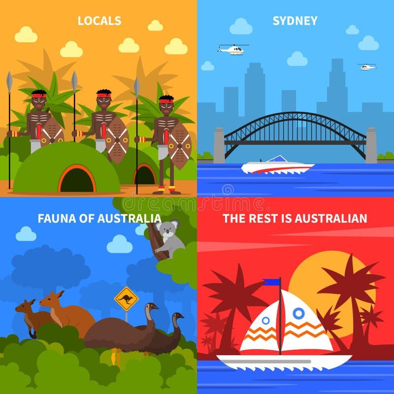 Εικονίδια έννοιας της Αυστραλίας καθορισμένα απεικόνιση αποθεμάτων