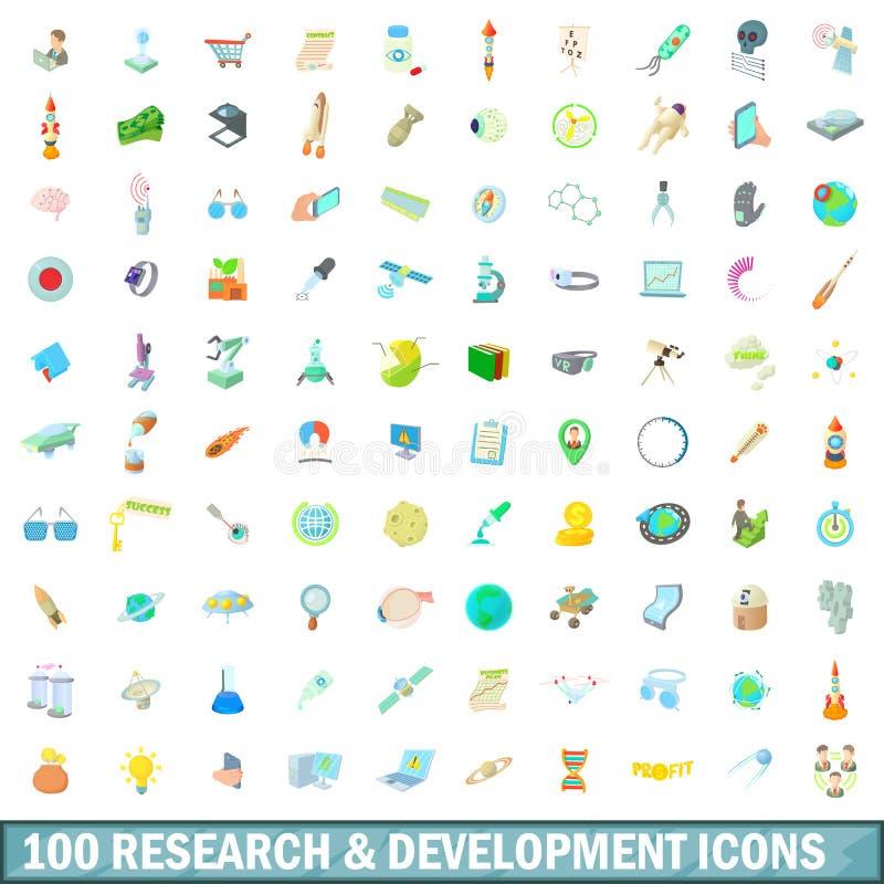 100 εικονίδια έρευνας και ανάπτυξης καθορισμένα απεικόνιση αποθεμάτων