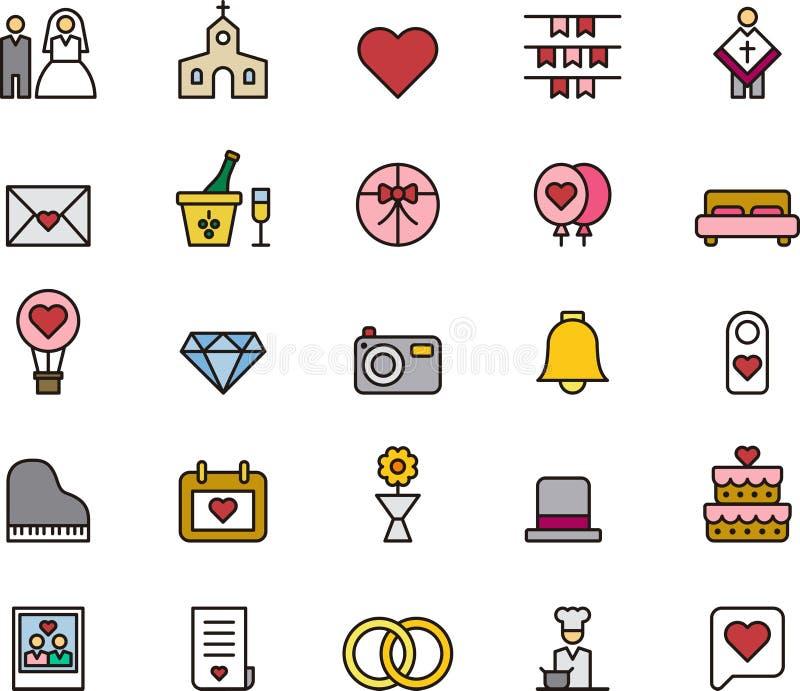 Εικονίδια αγάπης και γάμου ελεύθερη απεικόνιση δικαιώματος