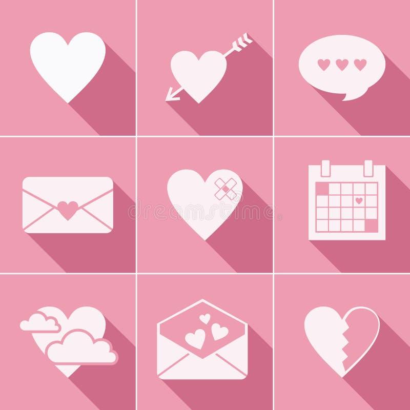 Εικονίδια αγάπης ταχυδρομείου ελεύθερη απεικόνιση δικαιώματος