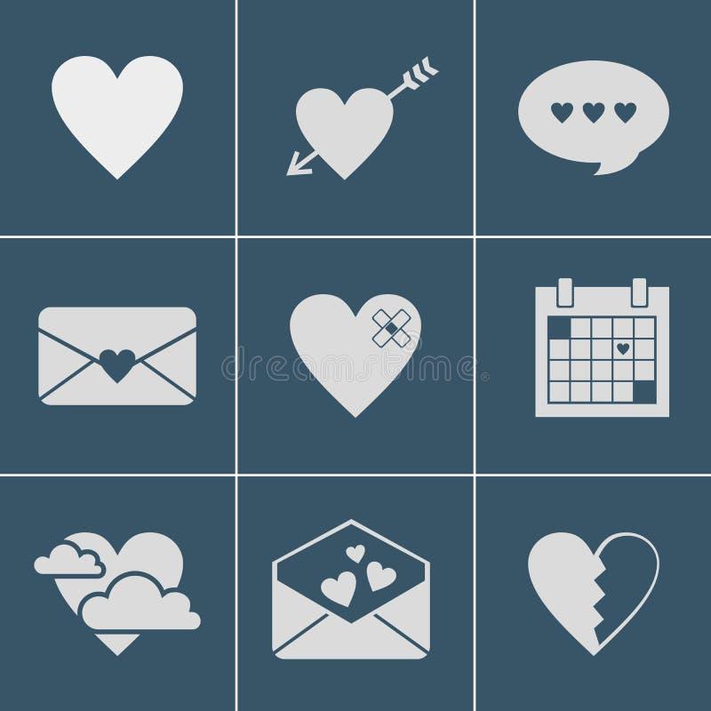 Εικονίδια αγάπης ταχυδρομείου απεικόνιση αποθεμάτων