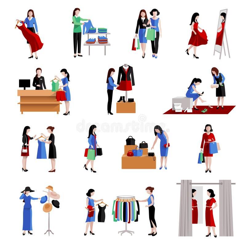 Εικονίδια αγορών γυναικών απεικόνιση αποθεμάτων