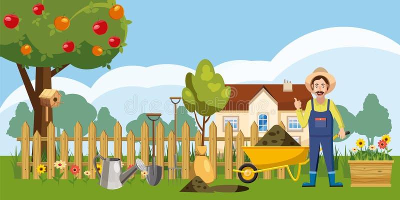 Εικονίδια αγροτικών σπιτιών κηπουρών καθορισμένα, ύφος κινούμενων σχεδίων ελεύθερη απεικόνιση δικαιώματος