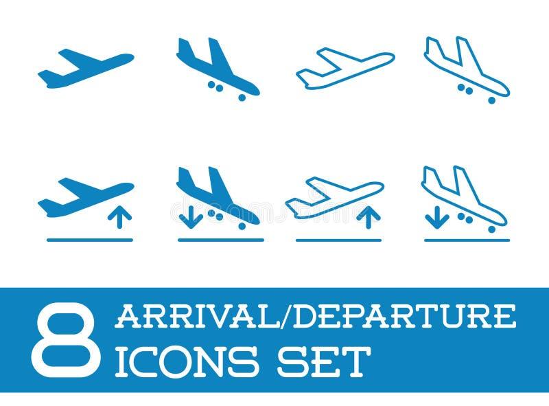 Εικονίδια αεροσκαφών ή αεροπλάνων καθορισμένα τη συλλογή τη διανυσματική αναχώρηση αφίξεων σκιαγραφιών διανυσματική απεικόνιση