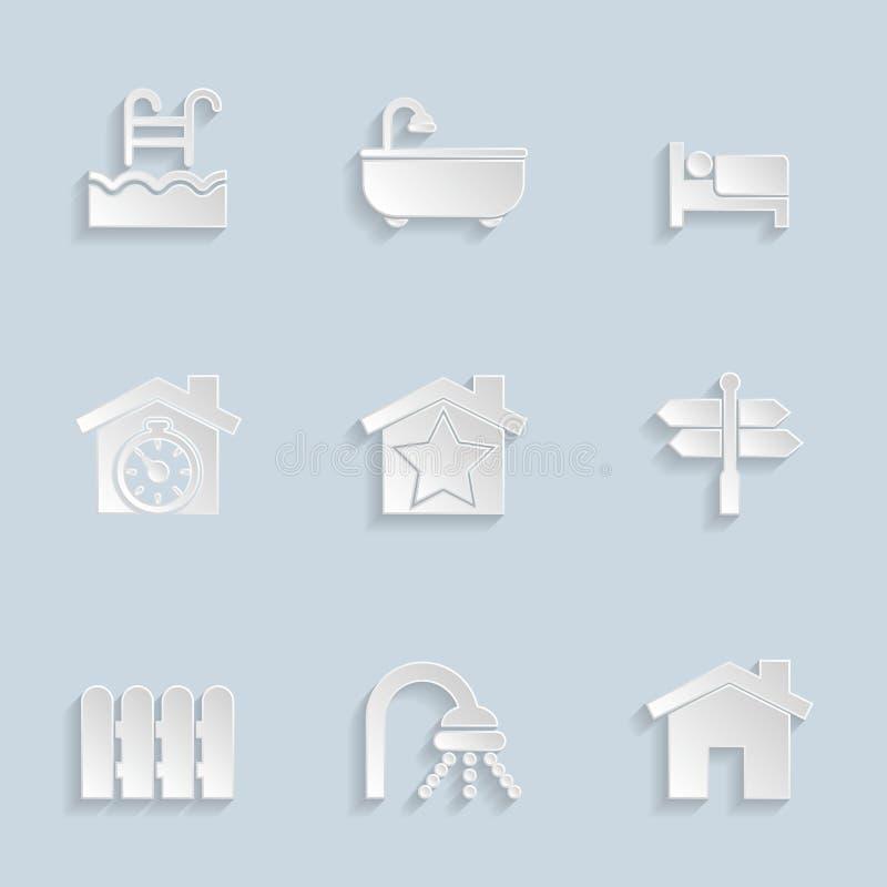 Εικονίδια ακίνητων περιουσιών εγγράφου ελεύθερη απεικόνιση δικαιώματος