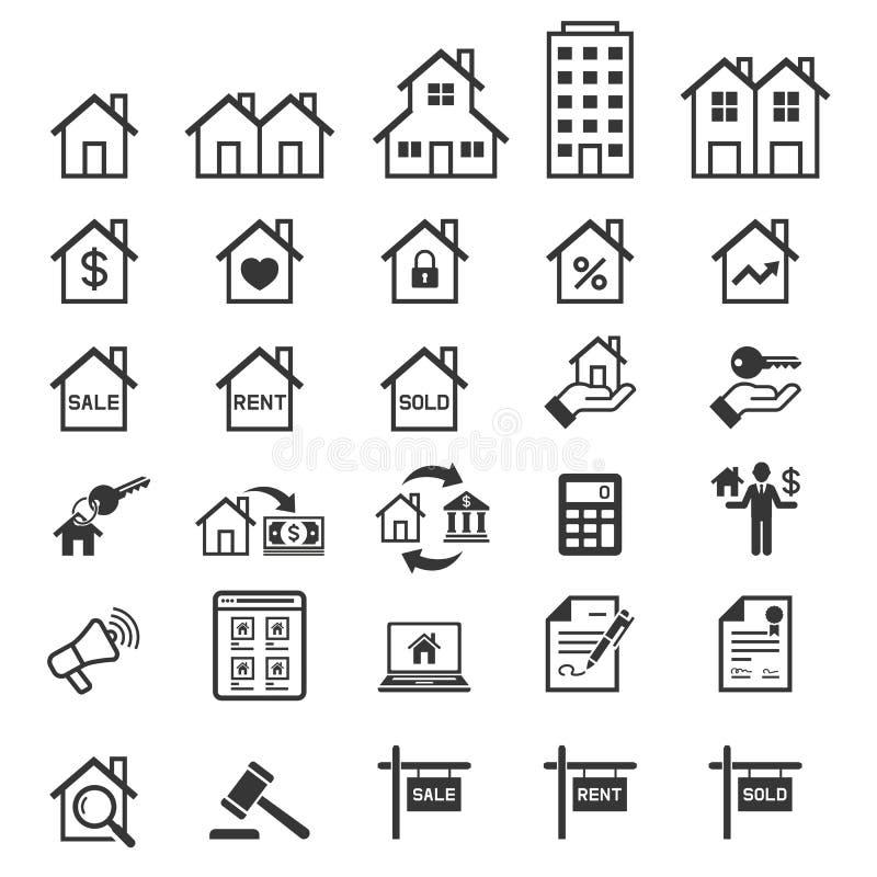 Εικονίδια ακίνητων περιουσιών διάνυσμα απεικόνιση αποθεμάτων
