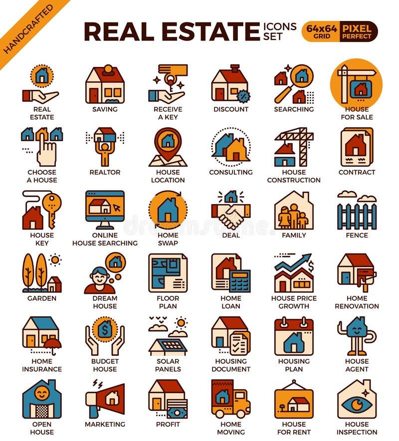 Εικονίδια ακίνητων περιουσιών διανυσματική απεικόνιση