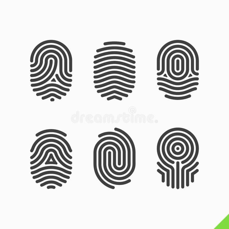 Εικονίδια δακτυλικών αποτυπωμάτων καθορισμένα ελεύθερη απεικόνιση δικαιώματος