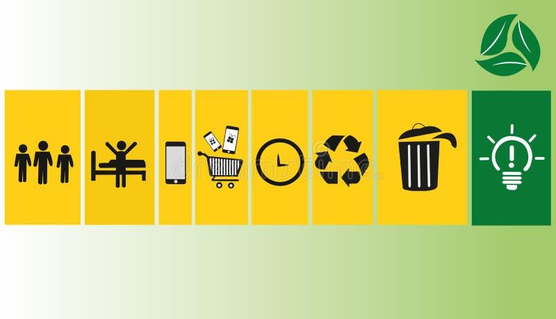 Εικονίδια ανακύκλωσης με το σχέδιο υποβάθρου στοκ φωτογραφία με δικαίωμα ελεύθερης χρήσης