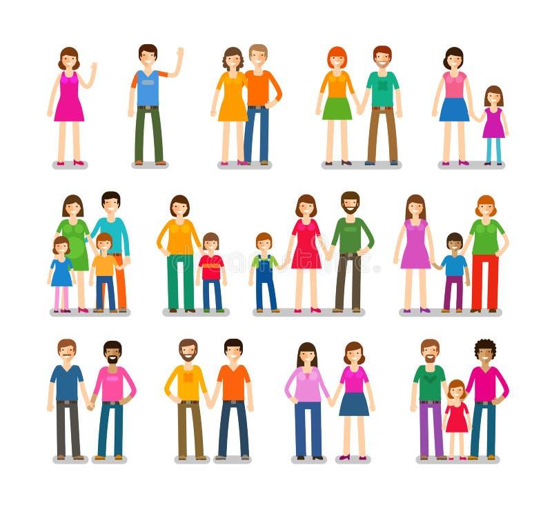 Εικονίδια ανθρώπων που τίθενται Οικογένεια, αγάπη, σύμβολα παιδιών επίσης corel σύρετε το διάνυσμα απεικόνισης διανυσματική απεικόνιση