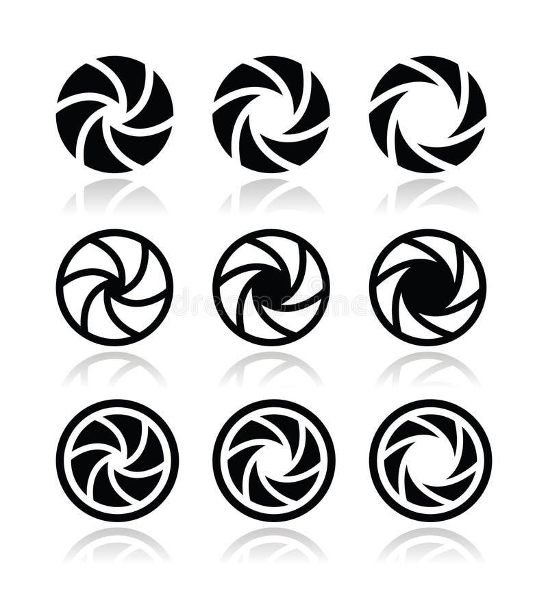 Εικονίδια ανοιγμάτων παραθυρόφυλλων καμερών καθορισμένα διανυσματική απεικόνιση