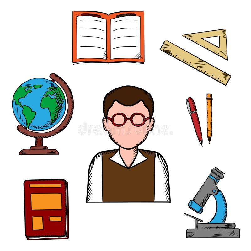 Εικονίδια αντικειμένων εκπαίδευσης και σχολείων ελεύθερη απεικόνιση δικαιώματος