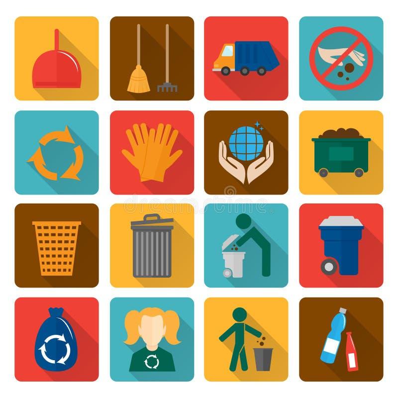Εικονίδια απορριμάτων καθορισμένα απεικόνιση αποθεμάτων