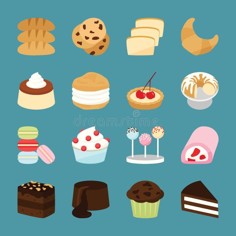 Εικονίδια αρτοποιείων διανυσματική απεικόνιση