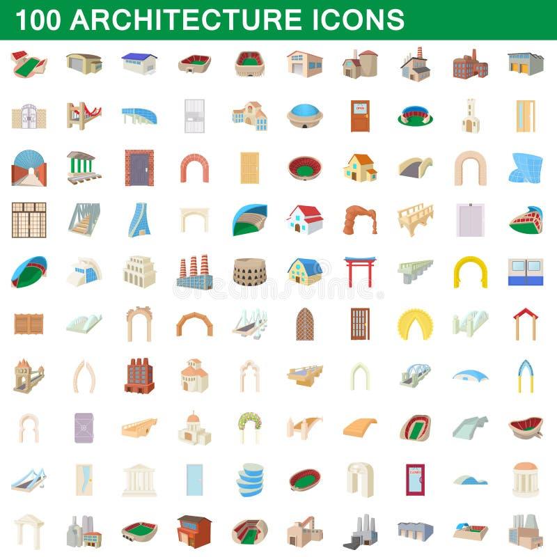 100 εικονίδια αρχιτεκτονικής καθορισμένα, ύφος κινούμενων σχεδίων απεικόνιση αποθεμάτων