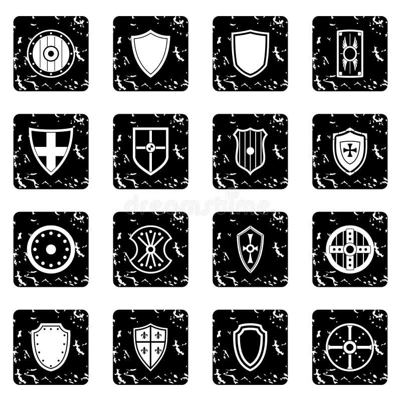 Εικονίδια ασπίδων καθορισμένα, grunge ύφος ελεύθερη απεικόνιση δικαιώματος