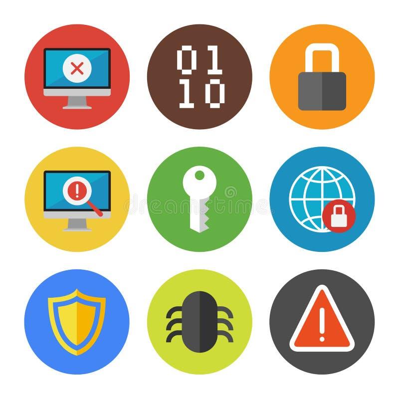 Εικονίδια ασφάλειας Διαδικτύου καθορισμένα ελεύθερη απεικόνιση δικαιώματος