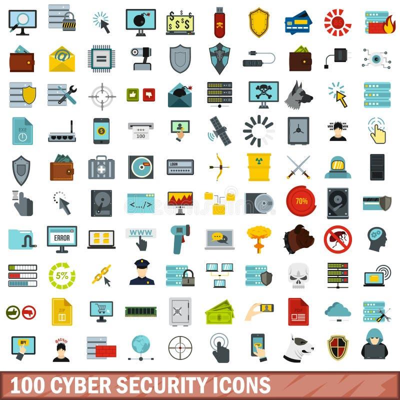 100 εικονίδια ασφάλειας cyber καθορισμένα, επίπεδο ύφος απεικόνιση αποθεμάτων