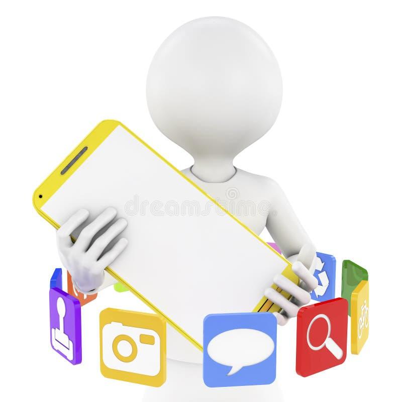 Εικονίδια ατόμων, smartphone και app απεικόνιση αποθεμάτων