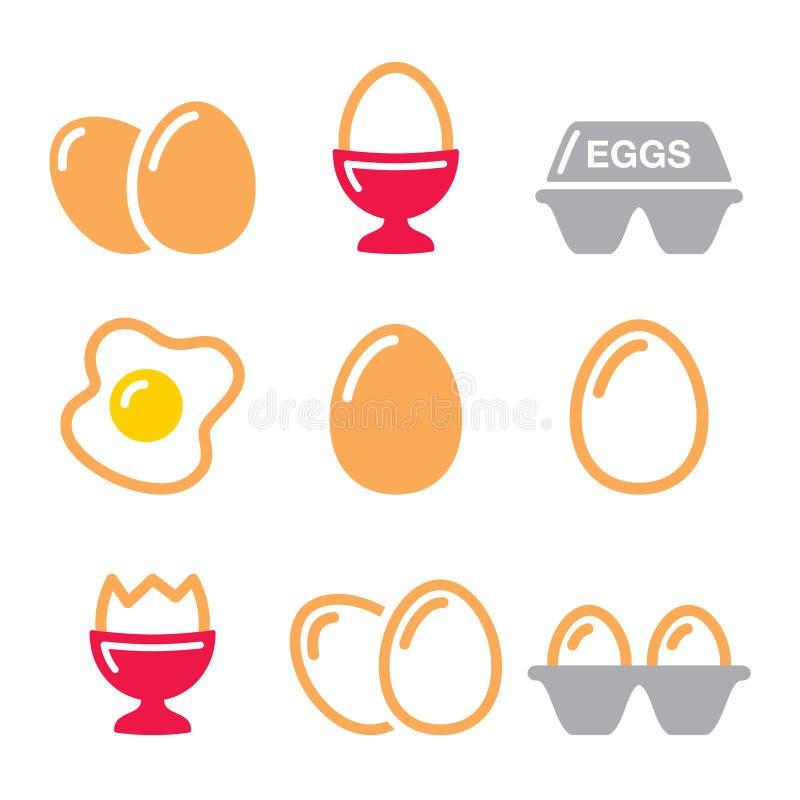 Εικονίδια αυγών, τηγανισμένο αυγό, κιβώτιο αυγών - εικονίδια προγευμάτων καθορισμένα διανυσματική απεικόνιση
