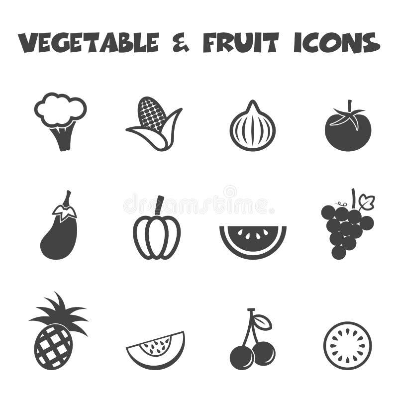 Εικονίδια λαχανικών και φρούτων απεικόνιση αποθεμάτων