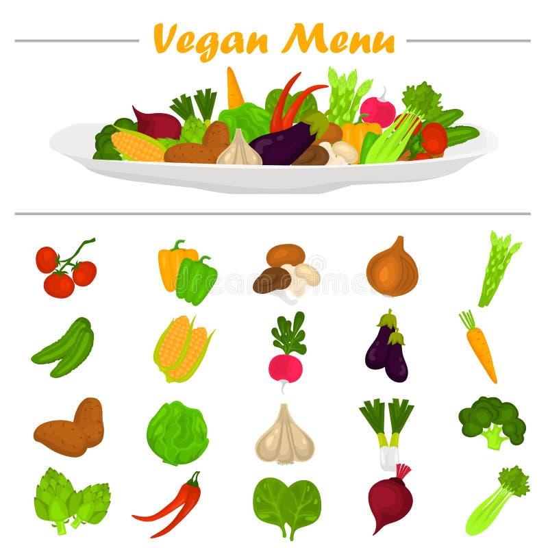 Εικονίδια λαχανικών χρώματος καθορισμένα Σύνθεση λαχανικών στο πιάτο στην κορυφή για τον Ιστό και το κινητό σχέδιο ελεύθερη απεικόνιση δικαιώματος