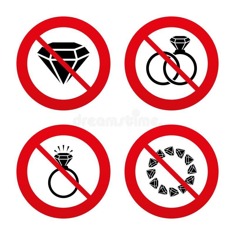 Εικονίδια δαχτυλιδιών Κόσμημα με τα σημάδια διαμαντιών ελεύθερη απεικόνιση δικαιώματος