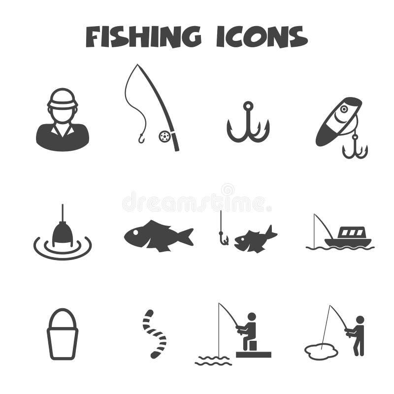 Εικονίδια αλιείας διανυσματική απεικόνιση